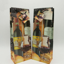 Christmas single paper wine bottle gift bags wholesale