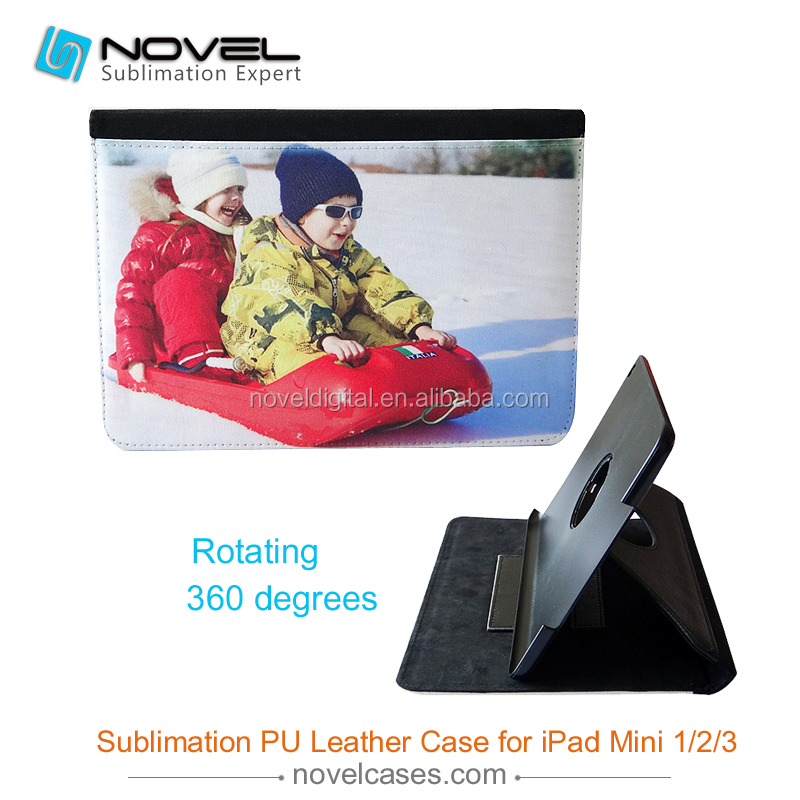 Sublimation blank leather cover case for ipad mini 1/2/3, rotate pu leather phone case