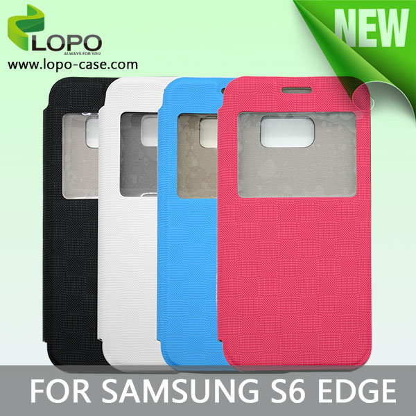 Blank printing sublimation flip leather cell phone case for Samsung S6 edge with window opend