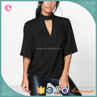Latest fashion blouse design, new high cut out choker neck wrap front blouse, clothing factories in China