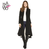 HAODUOYI Women Wool Long Trench Coats