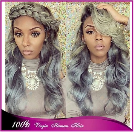 7a quality Hot Sale 1bTgrey# virgin peruvian hair loose wave ombre grey front lace wig