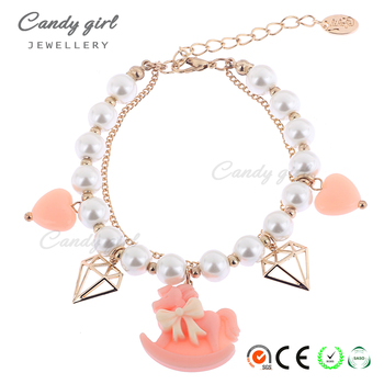 Candygirl brand bear horse diamon fashion imitation pearl bracelets women accessories jewelry custom pendant bead charm bracelet