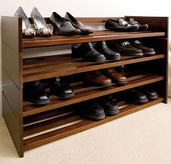 FSC solid wood shoe rack wholesale
