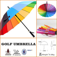 30 inch 24k popular strong rainbow color golf umbrella wih wholesales prices