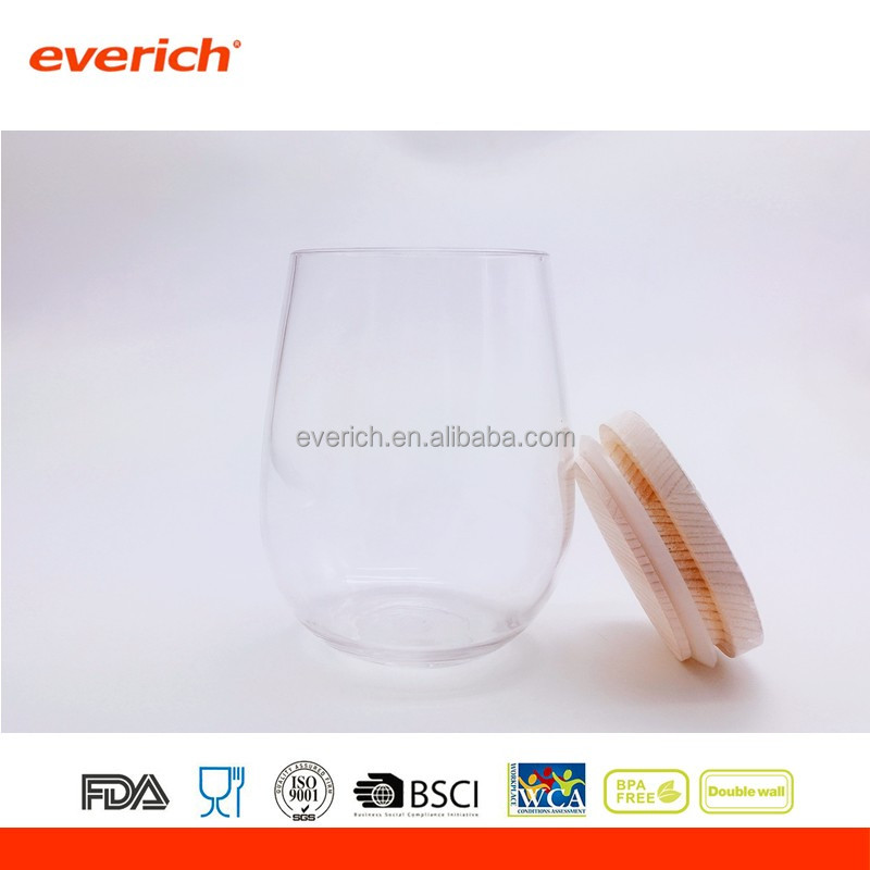 Best selling products tritan plastic drinking wine glass cup with bamboo lid