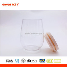 Best selling products tritan plastic wine glass cup with bamboo lid for drinking