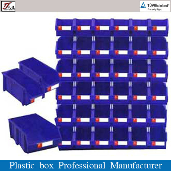 Plastic storage bin in warehouse, garage