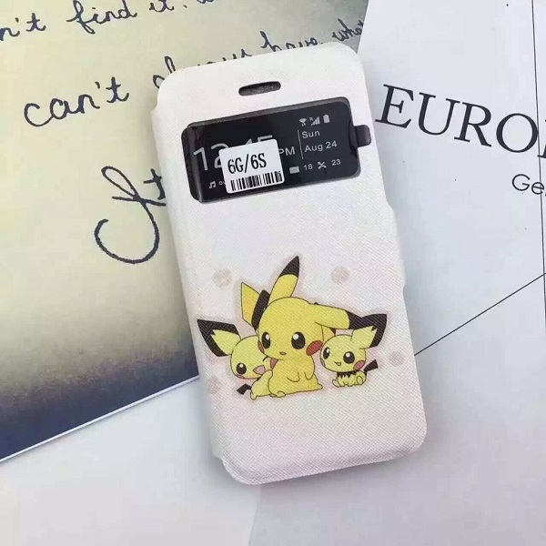 Wholesale pokemon leather case for iphone 6 6s flip case wallet