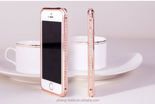 New fashion Bling shining crystal aluminum diamond metal hard bumper frame case for apple iPhone 5 5S 4S