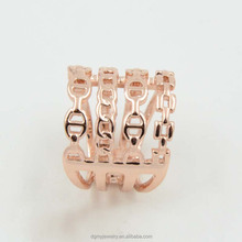 gold hollow metal flat ring exo ring