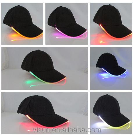 cotton materials led multicolor light hat with custom embroidery logo