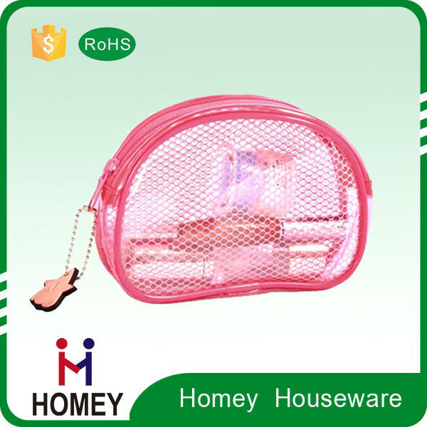 Round zipper clear pvc cosmetic bag transparent toilet bag with handle thank you gift bags