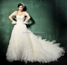 2014 latest fashion design unique long train wedding dress OW101