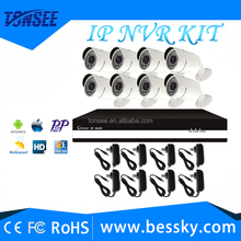 full set indoor outdoor home cctv security monitor system ip66 waterproof night vision ip hd 2mp bullet camera 8chh.264 nvr kits