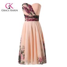 Grace Karin Strapless Sweetheart Short Knee Length Floral Print Chiffon Formal Evening Party Dresses Patterns CL7501