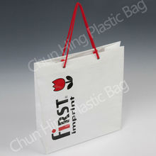 Printed Plastic Carrier Bag With Rope Handle/Plastic Shopping Bag/Plastic Gift Bag