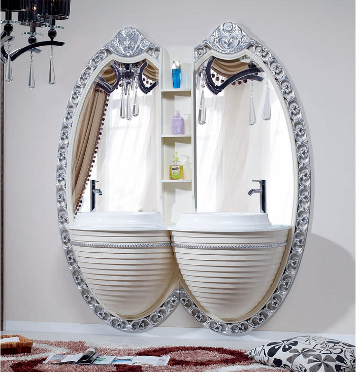 Stylish double ceramic basin bathroom cabinet vanity with silver mirror and shelf