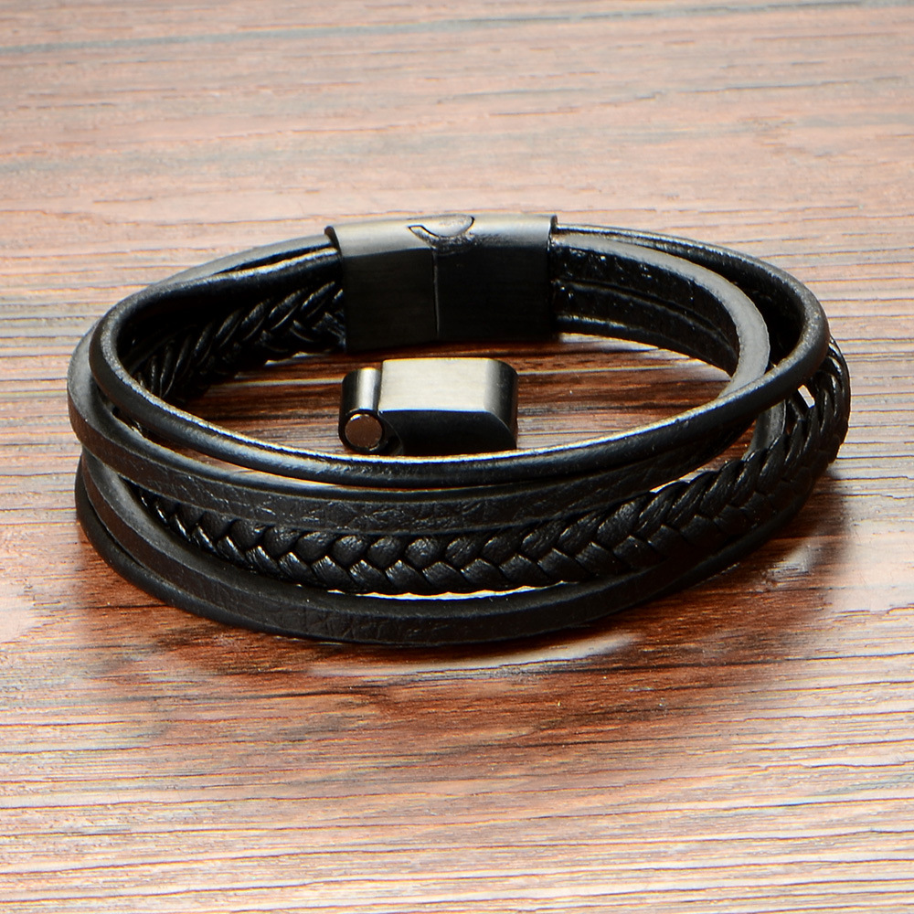 Hot Selling Genuine Leather Wristbands Braided Stainless Steel Magnetic Clasp Leather Bracelets For Men