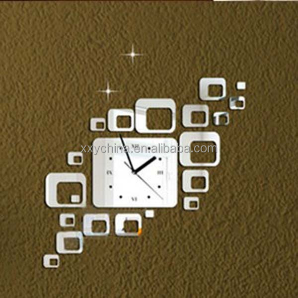 Acrylic self adhesive sticker wall clock with cute shape (B0432)