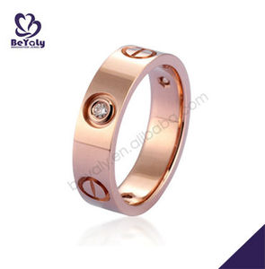 Fashion Rose Gold Plated Silver Rings 18K Fake Gold Rings Jewelry