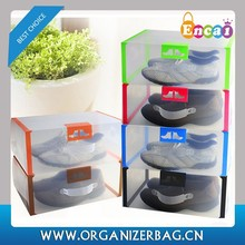 Encai New Style Men's Foldable Clear Plastic Shoebox With Handle Colourful Printed Storage Boxes For Shoes Wholesale