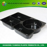 Non-slip disposable plastic PET plastic tray with dividers