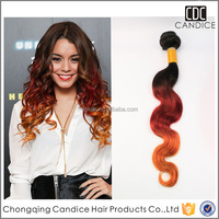 New Arrival Two Tone 1b/Red Body Wave Unprocessed Brazilian Hair Ombre Body Weave