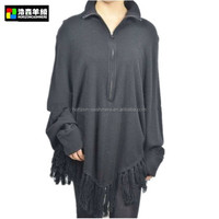 Woman Cashmere Poncho, Black Fashion Women Poncho Sweater