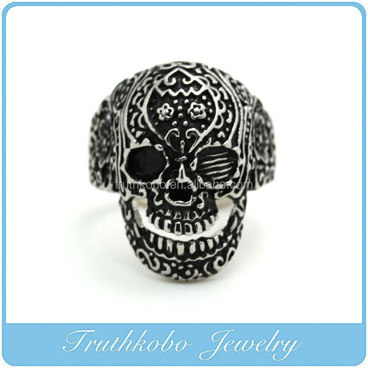 TKB-R0115 Stainless Steel Mens Gothic Biker Jewelry Sugar Skull Ring Oxidized Black