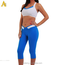 Nylon spadnex fabric Sports bra and 3/4 V waist band pants urban sports wear