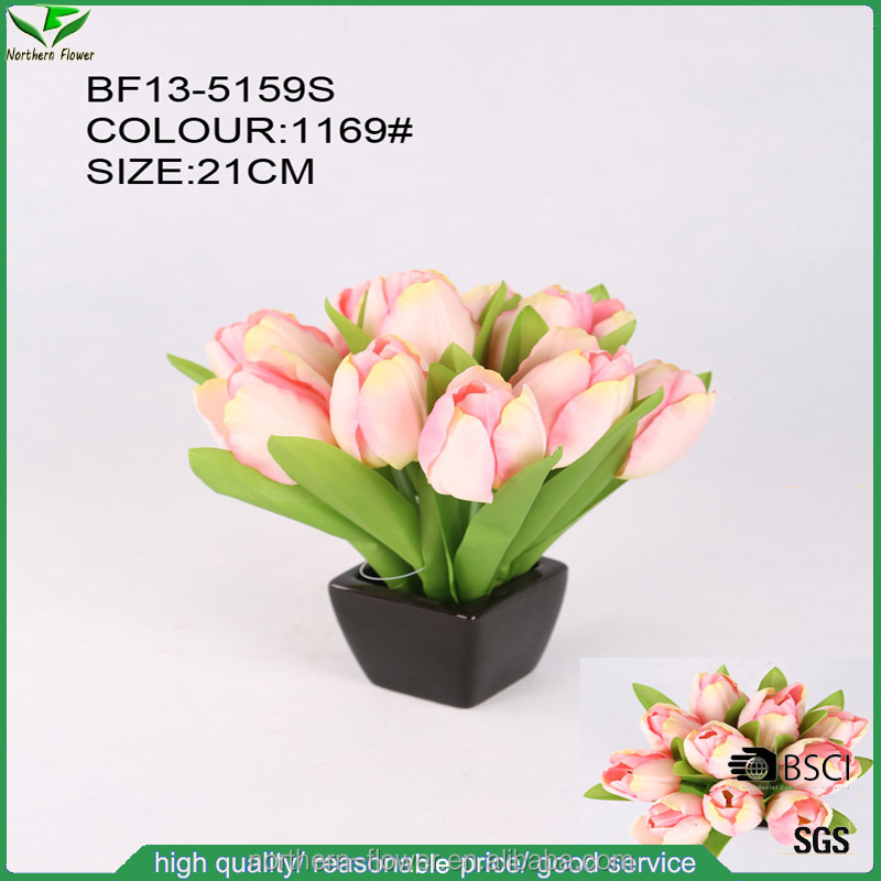 Cheap Wholesale High Quality Mini Artificial Tulip Flower Bouquet with ceramic pot for wedding decoration