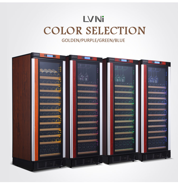 LVNI factory 120 bottles 220v built in dual zone beer wine refrigerator cooler fridge