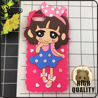 3d silicone mobile phone case, cute girl soft Silicone back case cover for iphone 6/7