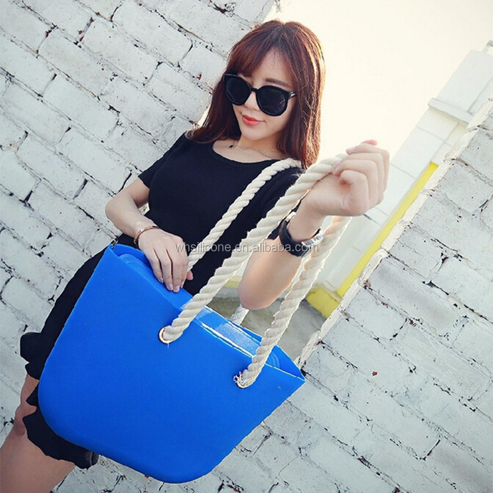 New Candy Color Women Silicone Shoulder Bag tote bag Beach purses Silica gel Rope Handle Zipper Obag,