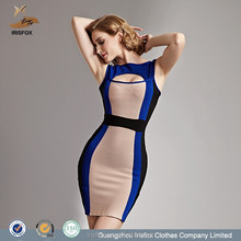 Royal blue and nude sleeveless bodycon ballroom dancing dresses from china