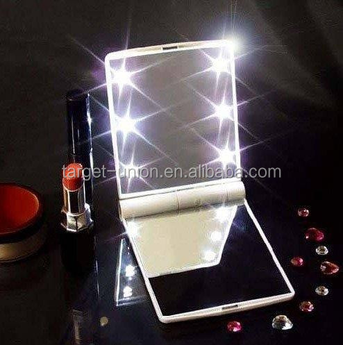 LED Mirror Lady Gift Pocket Mirror With 8led <strong>Lamps</strong>