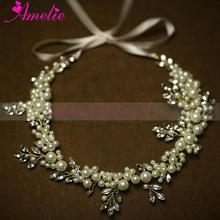 2016 Wedding Ivory Pearl Headband with Pearl Bracelet and Pearl Hair Comb Set