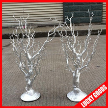 wedding and party decorated spiral fake plastic trees in silver color