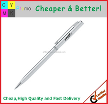 Top sellers promotional logo printed metal thin body pen