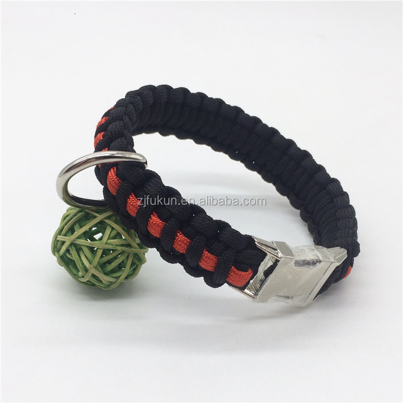 Paracord Dog Collar Tracking Rope Heavy Duty Nylon Braided Collar Hot Sale Thin Red line Survival Paracord Dog Collar