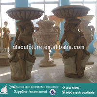 Garden Yellow Marble Flowerpot With Couple