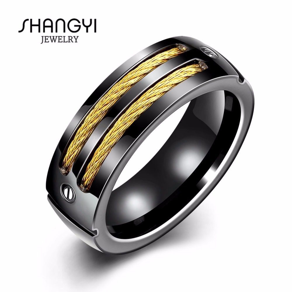 4 Gram Men Simple Black Tungsten Gold Ring Without Diamond
