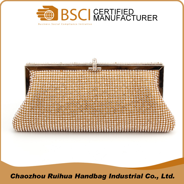 Gorgeous crystals clutch bag metal mesh evening bag with acrylic diamond
