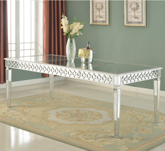 Rectangle Mirror Glass Banquet Chic Silver Mirror Dining Table