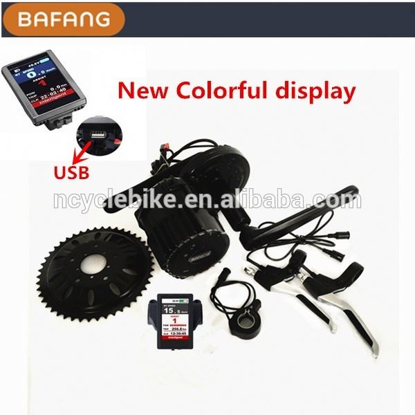 Bafang 48v 1000w mid driven dc motor for electric vehicle with color lcd display