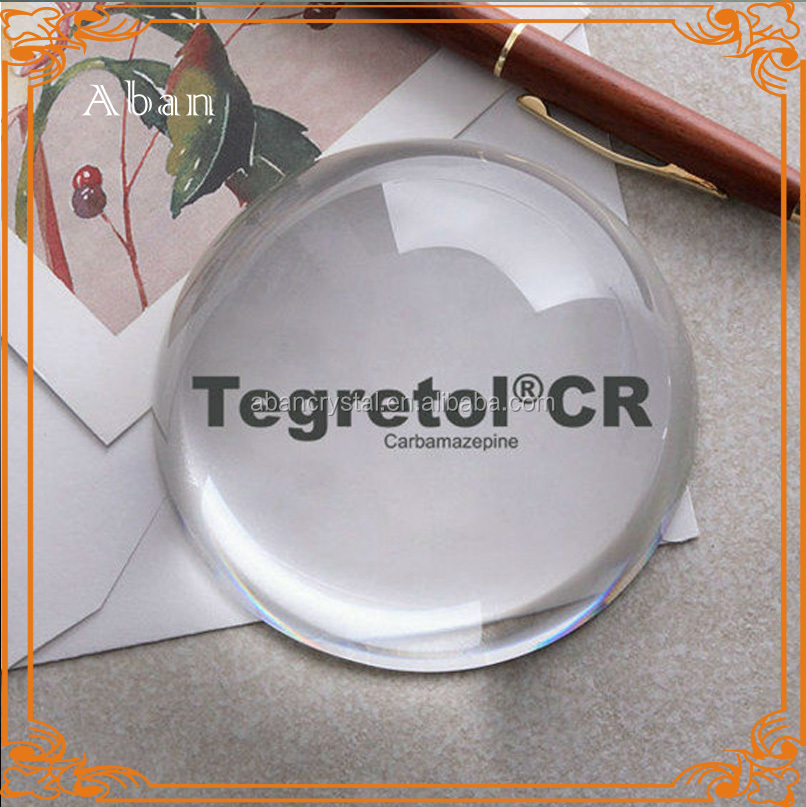 custom engraved 8cm half round crystal paper weight