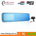 "4.3"" HD Rearview Mirror Tachograph With 195 Degree Arc Mirror And Dual Lens"
