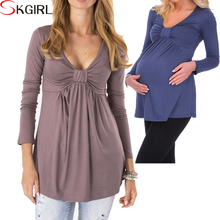 Wholesale casual soft stretch basic maternity tops wear long sleeve v neck knit modal fitted pregnant women blouses