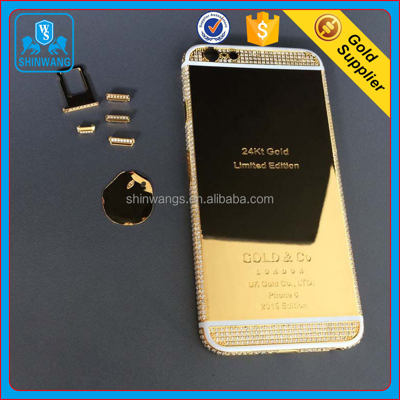 Customize 24K Gold Mobile Phone Case with CNC Diamante for iPhone 6/6 Plus and IPhone 7/7 Plus